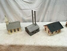 Vintage O Scale Plastic vile Church and Factory Train Station  House Lot
