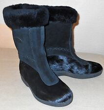 Tecnica Womens Black Fur Hair Snow Winter Pull On Boots size 39 8 8.5 ITALY