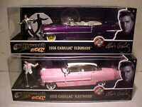 2 Pack ELVIS PRESLEY 1955 Cadillac 1956 Diecast 1:24 Greenlight 8inch w Figure