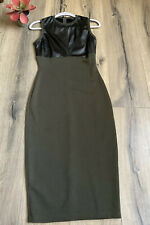 ASOS DESIGN Womens 6 Faux Leather Olive Green Fitted Midi Dress EUC