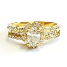 18k Yellow gold 1.20Ct Oval Diamond Halo Engagement Ring
