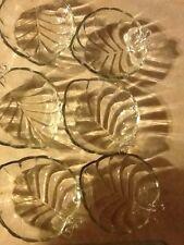 Vintage Glass Leaf Dessert Dish Set for 6  (1 lot)