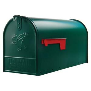 Gibraltar Large Galvanized Steel Post Mount Mailbox Heavy Duty Mail Box Green