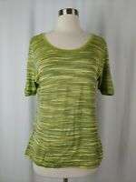 Missoni Sport 50 Large Women's Green Stripe Scoop Neck Short Sleeve T-shirt