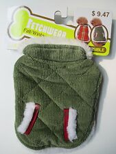 Green/Red Plaid Reversible Fetchwear Dog Coat, Jacket Fall Winter Free Shipping
