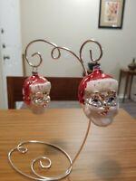 Vintage West German Blown Mercury Glass Christmas Ornament 2 figural Santa heads