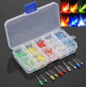 150pcs 3mm 5mm LED Light Emitting Diode White Red Green Yellow Assorted DIY Kit