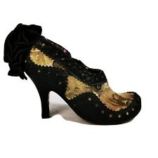 Irregular Choice cat Tapestry Bow Shoes boots beige cream steam punk 4 / 37