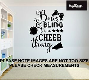 Cheerleader bows and bling vinyl wall art quote for childrens bedroom