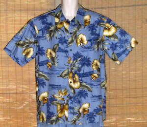 Paradise Bay Hawaiian Shirt Blue Tan Gray Floral Islands Size XL NWT
