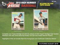 2019 Topps Heritage High Number Baseball Blaster Box (8 Packs/9 Cards)