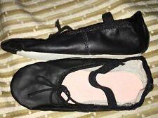 Kids Ballet Shoes Black Leather Sz 2M NEW