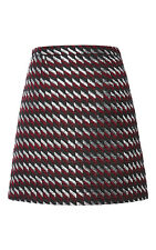 NWT $995 New Womens Christopher Kane Silk Skirt US 8 Silver Dark Red Black UK 12