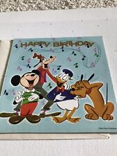 Vintage Disney Mickey Mouse Birthday Card With Record Lp Buzza Cardozo W/Env New