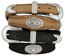 Arizona Southwestern Concho Genuine Leather Western Belt, Black Brown
