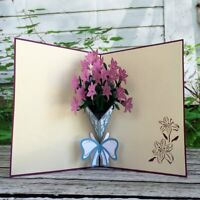 Handmade Purple Lily Bouquet 3D Pop Up Card