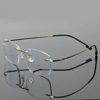 Mens Rimless Bifocal Reading Glasses Light Weight Readers Flexible Vintage