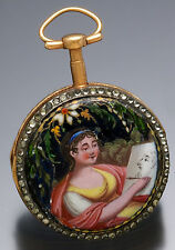 Early Gilt Verge Fusee Enamel Pocket Watch With Fancy Painted Dial