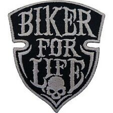BIKER FOR LIFE Skull Shield Chopper Motorbike Iron On Embroidered Shirt Patch