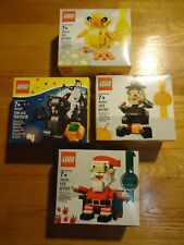 4 LEGO SETS CHICK 40202 HALLOWEEN CAT 40090 THANKSGIVING 40204 SANTA 40206 *NEW*