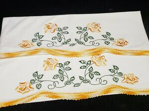 Vintage Pillowcases Yellow Roses Crocheted Lace Hand Embroidered 1950s Estate