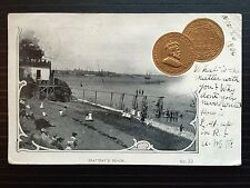 1903 McCoy's Patriotic Embossed 1 Cent Coin Postcard BEATTEAY'S BEACH ST JOHN NB