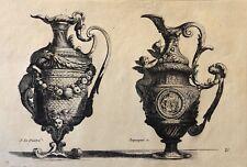 Le Pautre (1618-1682) paire d'aiguières gravée par Pequegnot estampe de 1856 .