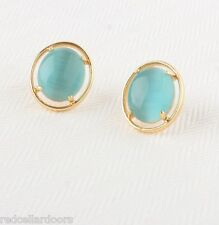Auth New KATE SPADE New York Cat's Eye Open Rim Studs Turquoise & Gold Earrings