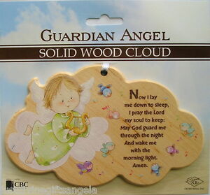 Guardian Angel Solid Wood Plaque Cloud ~ Now I Lay Me Down To Sleep......