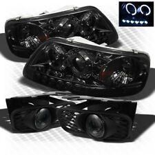 For Smoked 99-03 Ford F150 LED Projector Headlights+Halo Pro Fog Lamp Pair