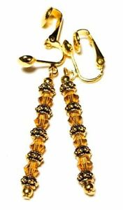 Long Gold Amber Crystal Clip-On Earrings Drop Dangle Glass Bead Classy Vintage