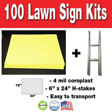 100 Pack YELLOW Blank Yard Signs 18x24 with H-stakes