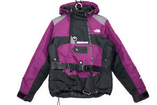 Vtg NORTH FACE Steep Tech 550 Wo's Small Hooded Belted Ski Jacket Purple Black