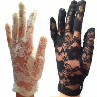 New Elegant Ladies Short Lace Gloves Costume - White Black UK
