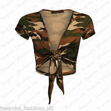 H12c Womens Ladies Cap Sleeve Tie up Front Cropped Bolero Shrug Cardigan 8 - 22 Camouflage Print XL 16-18