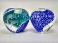 LENOX 2 Heavy Art Glass Paperweights Candle Holders, Etched Dolphins Waves EX CD