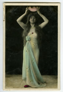 c 1907 Glamour Pretty YOUNG LADY French Fantasy photo postcard