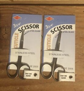 """Set Of 2 Cuticle Scissors - 3 3/4"""" Stainless Steel Blade"""