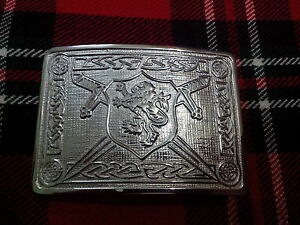 Scottish Rampart Lion Design Kilt Belt Buckle High Quality Chrome Finish