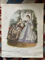 "La Mode Illustree 1862 No. 223 Paris Ladies Women Fashion Vtg Print 14"" x 18"""