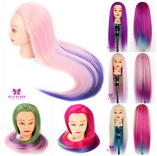 """UK All Style 24"""" Colorful Hair Training Head Hairdressing Mannequin Doll + Clamp"""