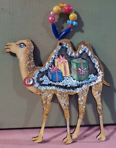 Camel in Christmas Sweater holiday glitter ornament by Kimberly Sams Gifts Maji