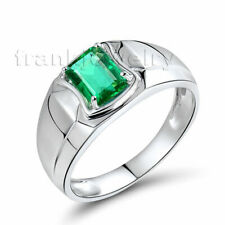 Perfect Jewelry Sets Vintage 18K White Gold Natural Green Emerald Gemstone Ring