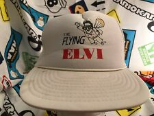 Flying Elvis White Parachuting Impersonators Snapback Trucker Hat Vintage Cap
