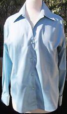 NWT Petite Sophisticate Size L Blue Long Sleeve 100% Cotton Shirt Blouse Top