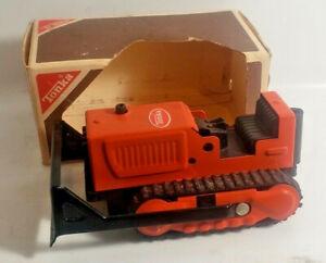 Vintage NOS 70's Tiny Tonka #495 Dozer Orange Pressed Steel tractor
