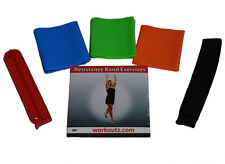 6 PIECE NON-LATEX FLAT YOGA RESISTANCE BAND SET EXERCISE DVD DOOR ANCHOR FITNESS