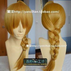 Fullmetal Alchemist/ Edward Elric Fashion Long Dark Gold Blonde Cosplay Wig wigs