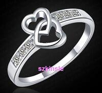 Fashion 925 sterling silver women Wedding Beautiful Crystal Ring heart jewelry