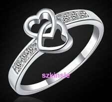 Fashion 925 sterling silver women Wedding Beautiful Crystal Ring heart jewelry
